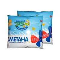 Сметана Молочный Фермер  15% 500гр пакет