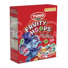 Завтрак сухой Yuno Фрути Хупс 250гр Злаков колечки Вкус фруктов карт/уп