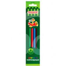 Карандаши цветные Жираф Пифагор 6 цветов Пластиковые 181249
