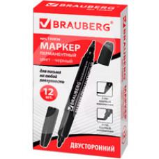 Маркер перманентный Brauberg Двусторонний Черный 2-4мм 150836