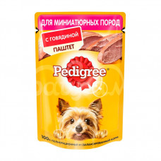 Корм для взрослых собак мини пород  Pedigree 80гр Паштет Говядина пауч