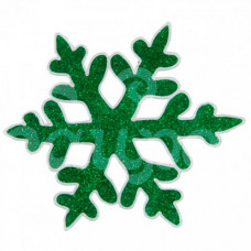 Наклейка на стекло d 14.5см Снежинка блестящая Зеленая 1116515
