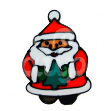Наклейка на стекло 14*10см Дед Мороз в шубке с елочкой 1113551