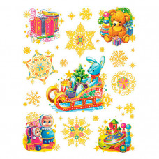 Украшение оконное новогоднее декорировано глиттером 34341