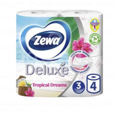 Бумага туалетная Zewa Deluxe 3сл 4шт Белая